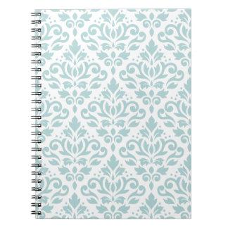 Scroll Damask Ptn Duck Egg Blue (B) on White Notebook
