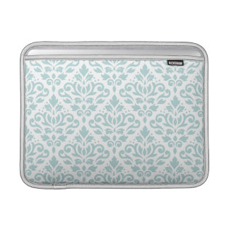 Scroll Damask Ptn Duck Egg Blue (B) on White Sleeve For MacBook Air