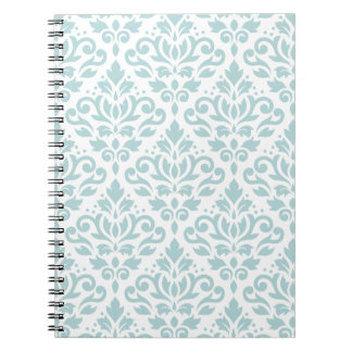 Scroll Damask Ptn Duck Egg Blue (B) on White Spiral Notebook