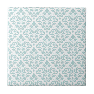 Scroll Damask Ptn Duck Egg Blue (B) on White Tile