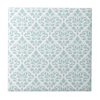 Scroll Damask Ptn Duck Egg Blue (B) on White Tiles