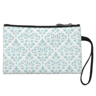 Scroll Damask Ptn Duck Egg Blue (B) on White Wristlet
