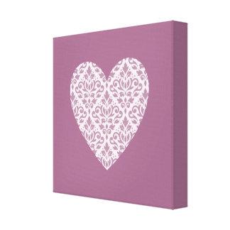 Scroll Damask Ptn Heart Mauve & Pink Canvas Print