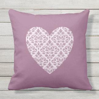 Scroll Damask Ptn Heart Mauve & Pink Outdoor Pillow