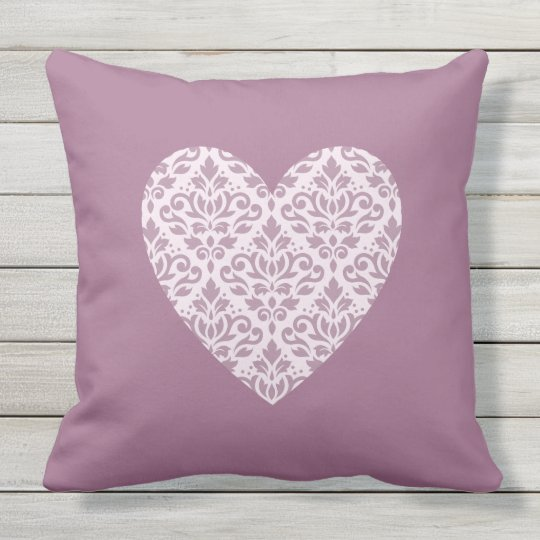 Scroll Damask Ptn Heart Mauve & Pink Outdoor Pillow