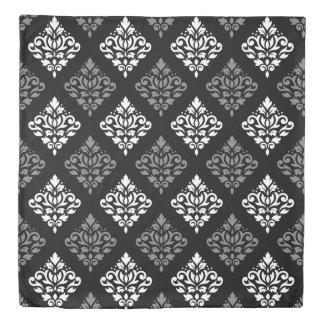 Scroll Damask Ptn II White Gray Black Duvet Cover