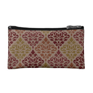 Scroll Damask Ptn Reds Orange Gold Taupe Cosmetics Bags