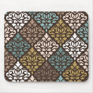 Scroll Damask Ptn Teals Browns Gold Cream White Mouse Pad