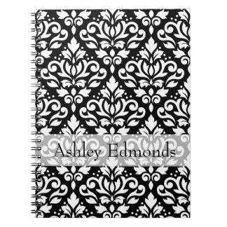 Scroll Damask Ptn White on Black (Personalized) Spiral Notebook