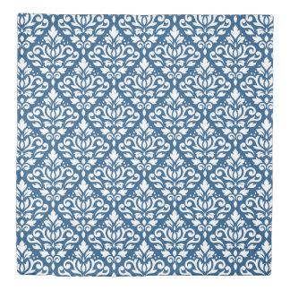 Scroll Damask Ptn White on Dk Blue Duvet Cover