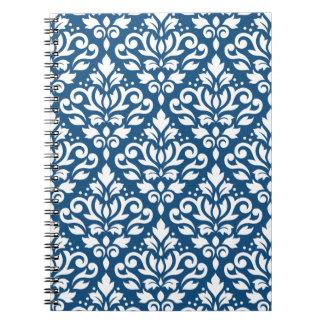 Scroll Damask Ptn White on Dk Blue Notebook