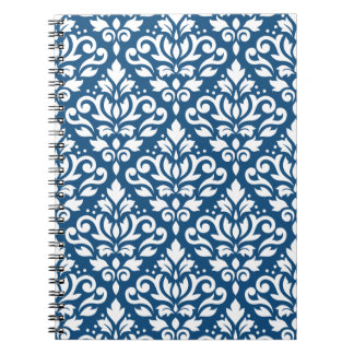 Scroll Damask Ptn White on Dk Blue Notebooks