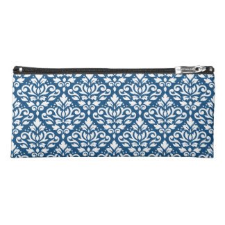 Scroll Damask Ptn White on Dk Blue Pencil Case