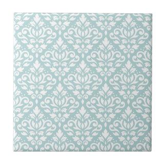 Scroll Damask Ptn White on Duck Egg Blue (B) Ceramic Tiles