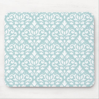 Scroll Damask Ptn White on Duck Egg Blue (B) Mouse Pad