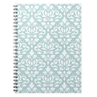 Scroll Damask Ptn White on Duck Egg Blue (B) Notebook