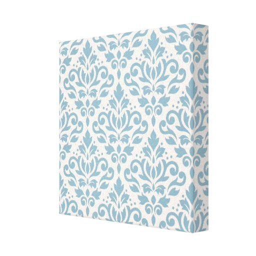 Scroll Damask Repeat Pattern Blue on Cream Gallery Wrapped Canvas