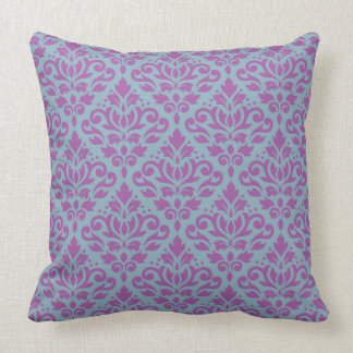 Scroll Damask Repeat Pattern Plum on Blue Throw Pillow