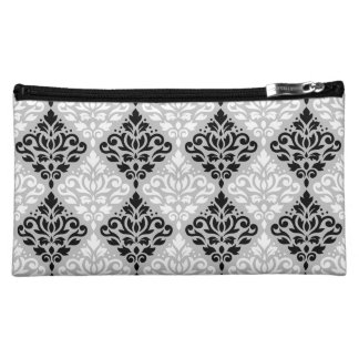 Scroll Damask Rpt Ptn B&W on Gray Cosmetics Bags