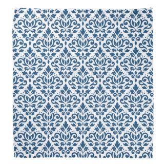Scroll Damask Rpt Ptn Dk Blue on White Kerchief