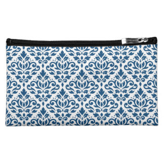Scroll Damask Rpt Ptn Dk Blue on White Makeup Bags