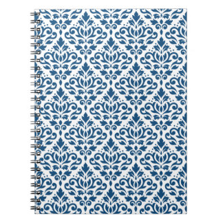 Scroll Damask Rpt Ptn Dk Blue on White Notebook