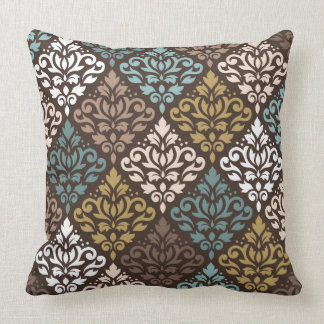 Scroll Damask Rpt Ptn Teals Browns Gold Crm White Throw Pillow