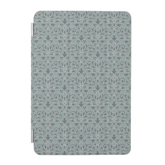 Scroll Damask v Pattern (outline) Cream Blue Teal iPad Mini Cover