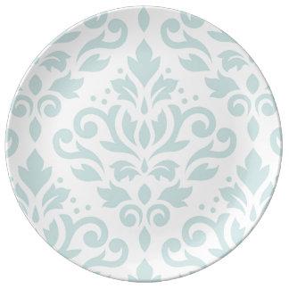 Scroll Damask XLg Ptn Lt Duck Egg Blue on White Plate