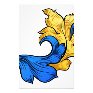 Scroll Filigree Floral Pattern Heraldry Design Stationery
