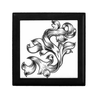 Scroll Floral Filigree Pattern Heraldry Design Gift Box