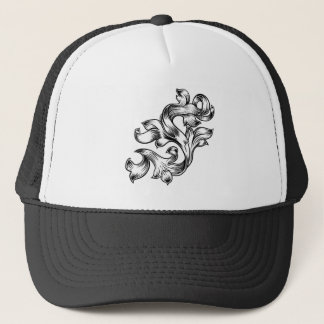 Scroll Floral Filigree Pattern Heraldry Design Trucker Hat