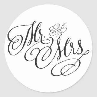 Scroll Font Mr. and Mrs. Wedding Sticker