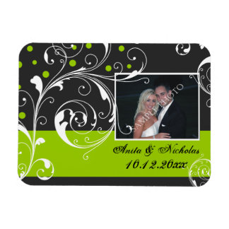 Scroll leaf black, green wedding Save the Date Rectangular Photo Magnet