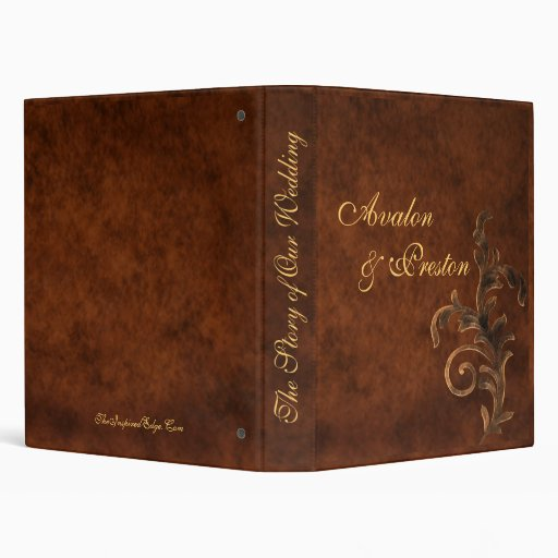 Scroll Leaf Faux Leather Story of Our Wedding Binder