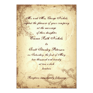 Scroll leaf vintage brown beige wedding invitation