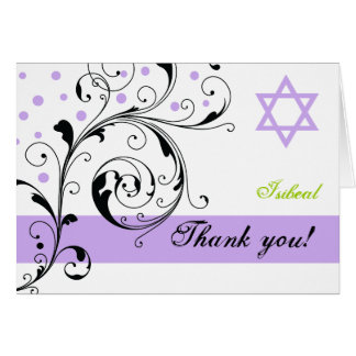 Scroll leaf white purple & Star of David Thank You Card