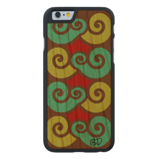 Scroll Stamp Pattern Carved Cherry iPhone 6 Case