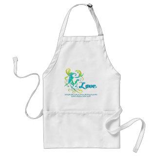 scrollart leaves love aqua standard apron