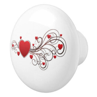 Scrolled Heart Ceramic Knob