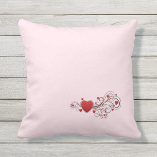 Scrolled Heart Pink kash003 Throw Pillow