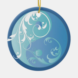 Scrolling Blue Yin & Yang Ornament