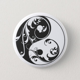 Scrolling Yin & Yang (black) 2 Inch Round Button