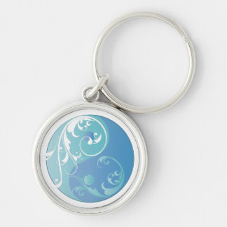 Scrolling Yin & Yang (Earth blues) Silver-Colored Round Keychain