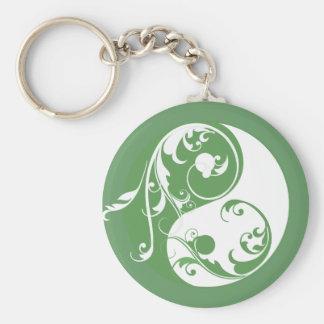 Scrolling Yin & Yang (green) Basic Round Button Keychain