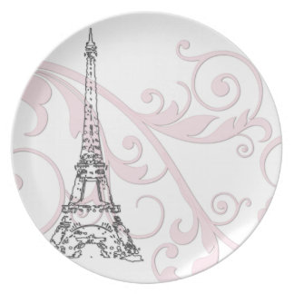 Scrolls and Eiffel Tower - Pink Plate