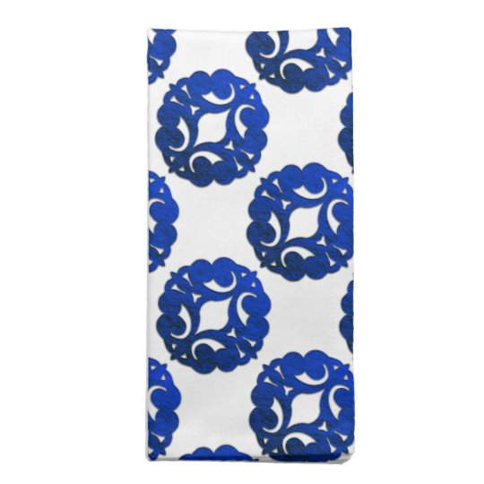 Scrolls Curls Blue Design 1 Cloth Napkins