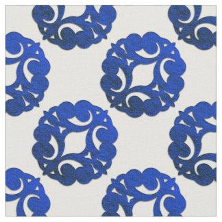 Scrolls Curls Blue Design 1 Fabric
