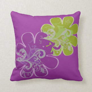 Scrolls n Flowers (purple/lime) Throw Pillow