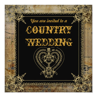 Scrolls rustic country western saloon wedding card
